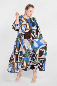 Платье PP20904GRA08 (васильковый/абстракция)