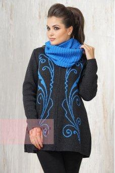 Жакет жен. 1405 т.серый/ярко голубой/