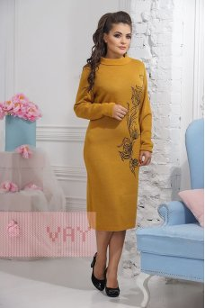Платье 2293 горчица/т.антацит