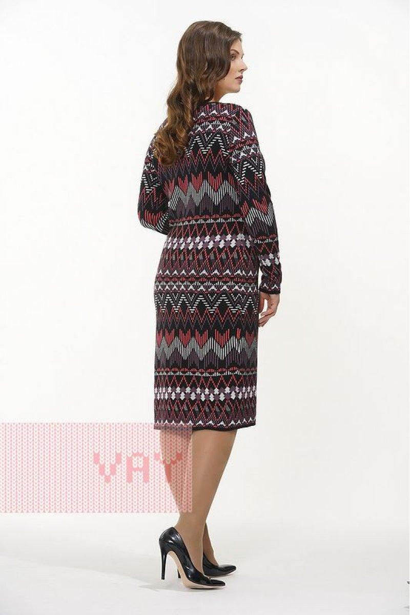 Платье 2315 черный/слива/роза/молоко