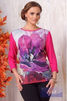 Блузка 3094 малина/мак