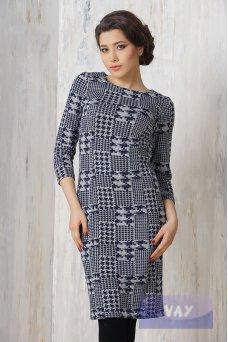 Платье 3244 синий-серый лапка клетка