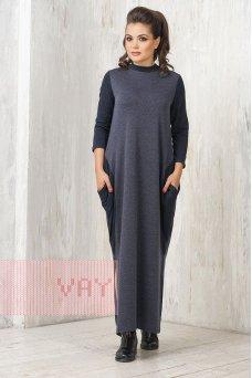 Платье 182-3455 т.синий меланж/т.синий