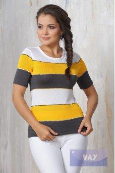 Джемпер 4385 т.моренго/белый/желтый