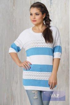 Джемпер 4405 белый/голубой