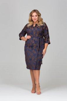 Платье Жаккард Розы (синий)