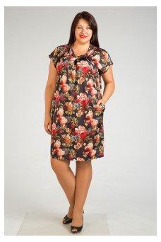 Платье 222 (цветы бордо)