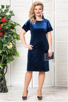 Платье Бархат (синий)