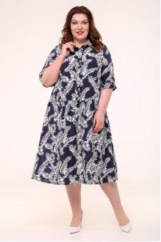 Платье Анелия (синий/белый)