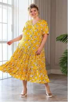 Платье Виктория (желтый /цветы)