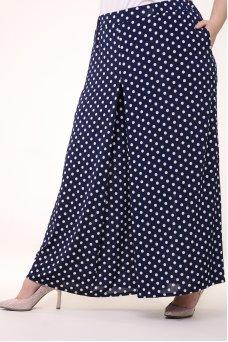 Юбка брюки Карусель (горох синий/белый)