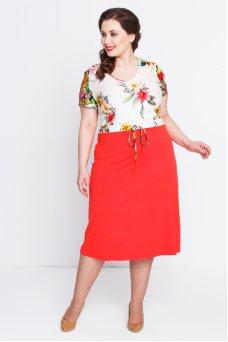 Платье Любава (цветы/коралл)