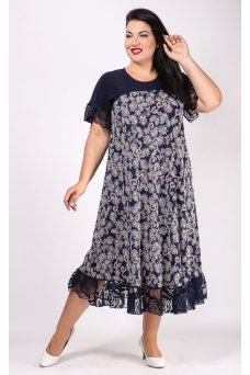 Платье Касабланка (синий/розовый)