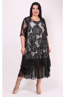 Платье Олимпия (черный/розы)