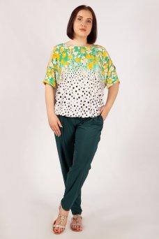Блузка Симона (тюльпаны зеленый)
