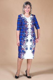 Платье Каролина (клетка синяя)