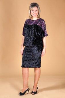 Платье Ночь (черно-брусничный)