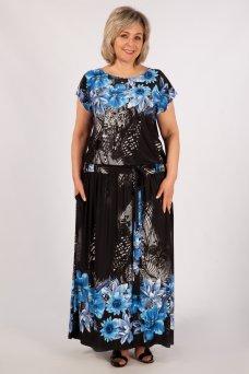 Платье Анджелина (черный/цветы синие)