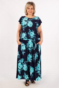 Платье Анджелина (цветы бирюзовые)
