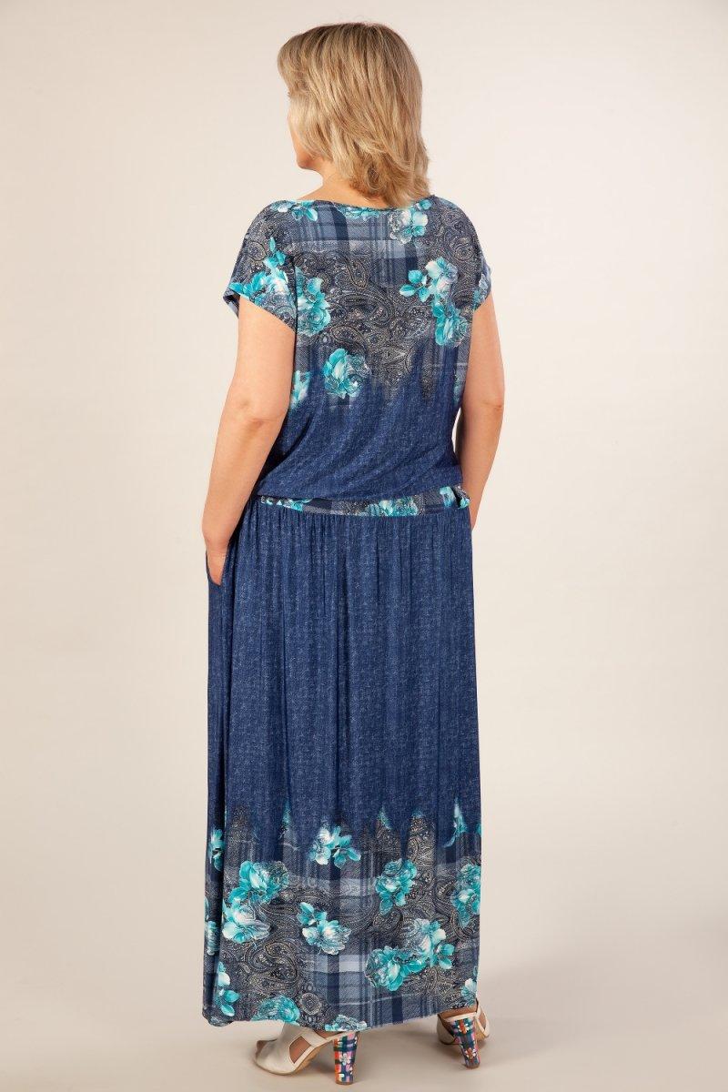 Платье Анджелина (джинс/цветы бирюзовые)