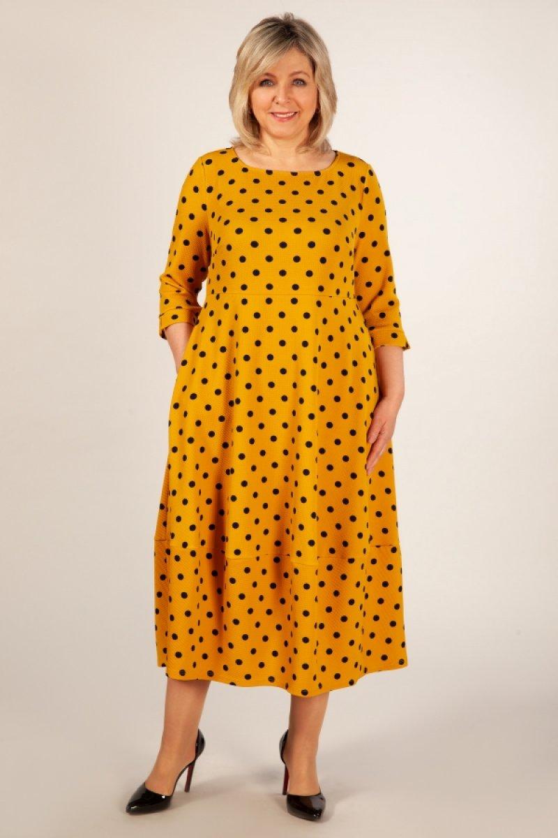 Платье Мария (горох темно синий)