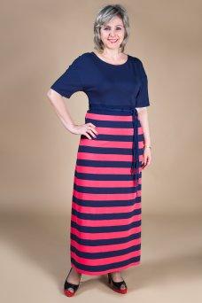 Платье София (сине-коралловый)