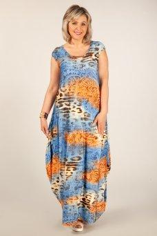Платье Стефани (леопард сине-оранжевый)