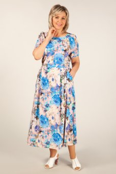 Платье Татьяна (пионы синие)