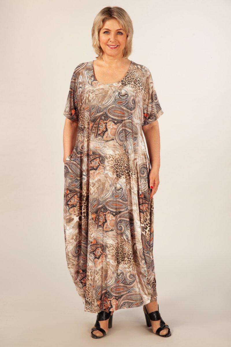 Платье Вероника-2 (леопард узоры терракотовые)