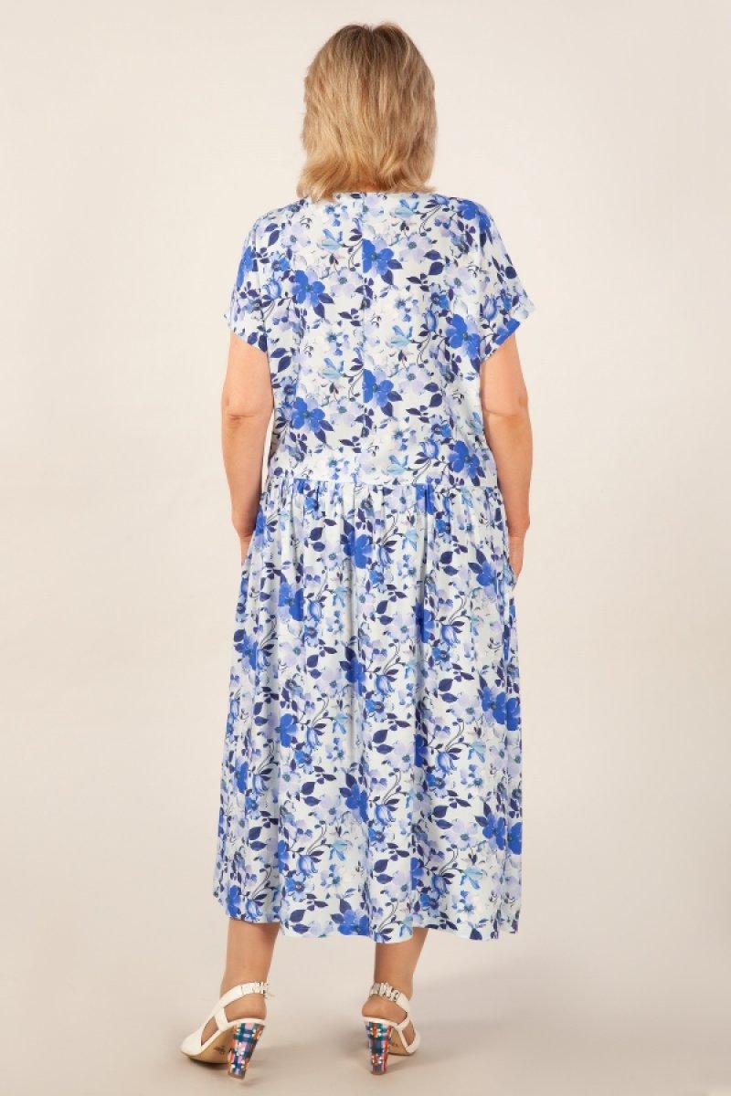 Платье Зоряна (цветы голубые)